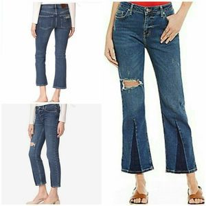 Free People Flare Leg Distressed Cropped Jeans 24